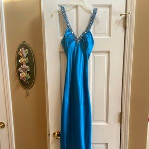 Turquoise Embellished Satin Gown